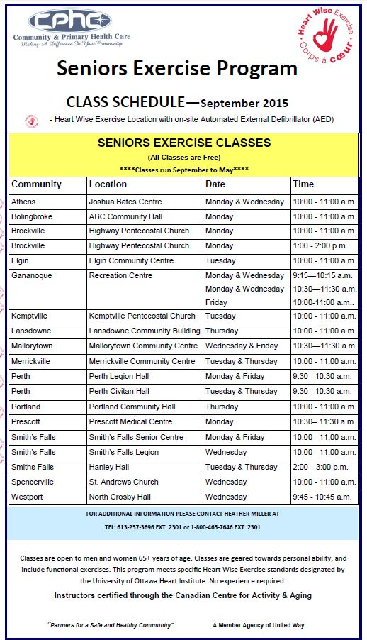 Perth Senior Exercise Program Monday And Friday Classes
